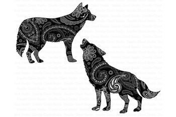 Mandala Wolf, Howling Wolf Mandala SVG, Wild Animals Wolf Mandala.