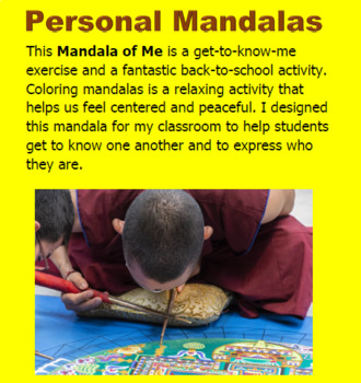 Mandala of Me -a get to know me exercise