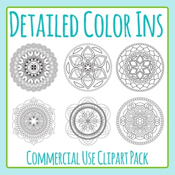 Mandalas - Adult Level Color In Designs - Commercial Use Clip Art