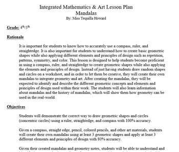 Mandalas Project - Geometry and Art Lesson Plan & Materials