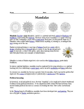 Mandalas Worksheet