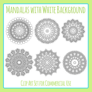 Mandalas with White Background Clip Art for Commercial Use