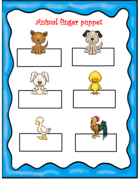 Mandarin Chinese Animal unit finger puppet 1 动物手偶1