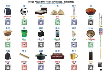 Mandarin Chinese Animals and Common Objects (108 words with spelling and audio)
