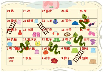 中文 Chinese Mandarin Cloth unit II snake and ladder game 中文衣服单元贪吃蛇游戏