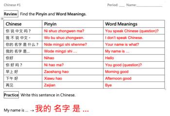 Mandarin Chinese Lessons #1-#5