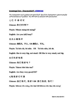 Mandarin Chinese Pronouns and Greetings Unit 1