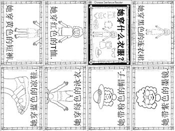 Mandarin Chinese Sentence Pattern Mini book 衣服/clothes - What is she wearing?