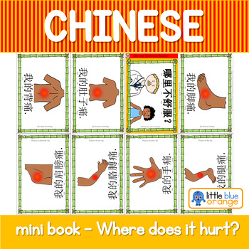 Mandarin Chinese Sentence Pattern Mini book 身体/body - where does it hurt?