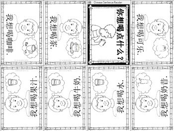 Mandarin Chinese Sentence Pattern Mini book 饮料 -  what do you want to drink?