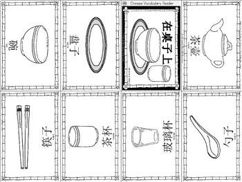 Mandarin Chinese Vocabulary Mini book - tableware 餐具