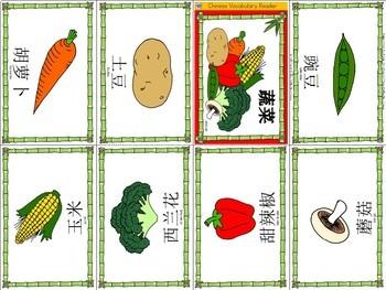 Mandarin Chinese Vocabulary Mini book - vegetables 蔬菜