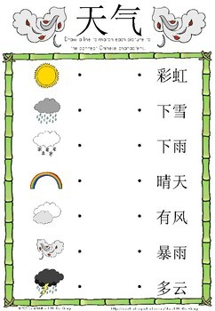 Mandarin Chinese Worksheets 天气/weather by Little Blue Orange | TpT
