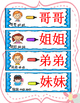 Mandarin Chinese family member words writing with different materials 家庭成员自制汉字