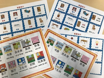 Mandarin Chinese house and furniture unit flashcards small size 中文家居单元小词卡