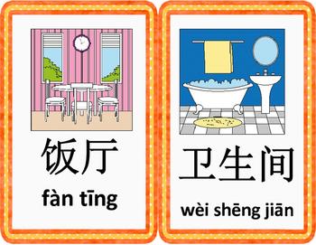 Mandarin Chinese house unit flashcards classroom size 家大词卡