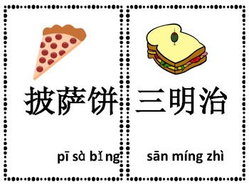 Mandarin Chinese lunch and dinner flashcards big size 中文食物大词卡