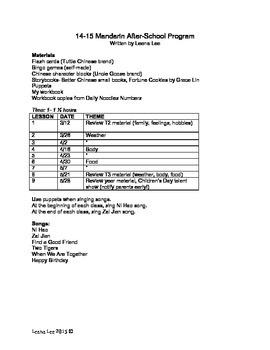 Chinese Mandarin Curriculum April to June 2015