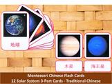 Mandarin Flash Cards // Solar System // 12 Cards (Montessori) // Traditional