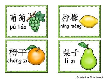 Chinese Mandarin Flashcards - Fruit