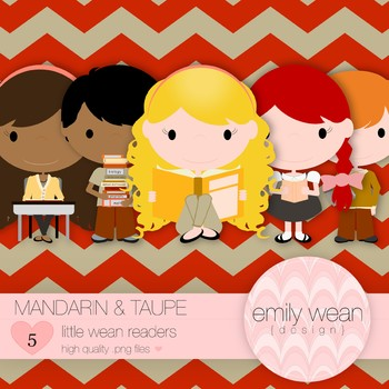 Mandarin and Taupe - Little Readers Clip Art