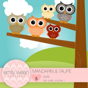 Mandarin and Taupe - Owl Clip Art
