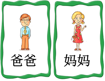 Mandarin family member flashcards package (flashcards and words reading video)