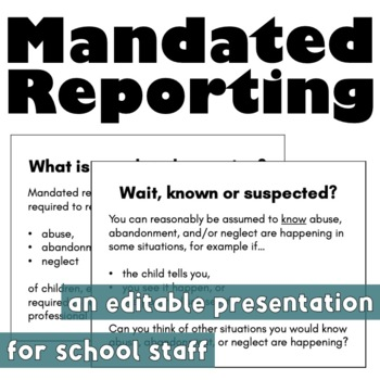 Back to School: Mandated Reporting Presentation for School Staff