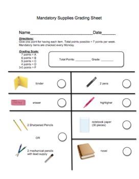 Mandatory Supplies Grading Sheet