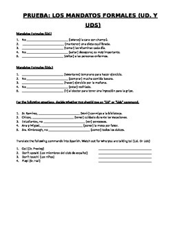 Mandatos Formales (Formal Commands) Quiz