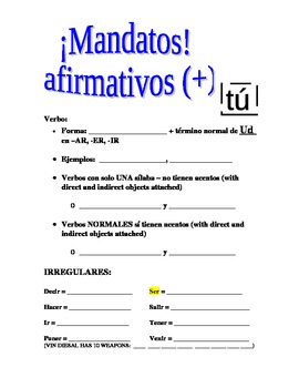 Mandatos - (commands) Guided Notes