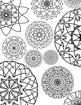 Hand Drawn Geometric Mandela Coloring Pages