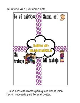 Maneras de participar en  el taller de matemática. Math workshop poster