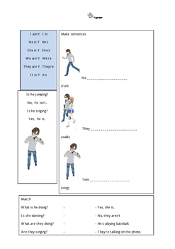 Manga style Present Continuous worksheet pack