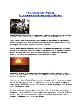 Manhattan Project Article and Questions