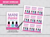 Mani Thanks Teacher Card, Polish Nail, Spa, Teacher Appreciation Gift Tag Idea