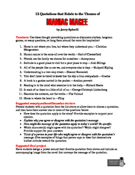 Maniac Magee: 12 Theme-Related Quotations + Teaching Ideas