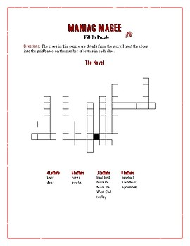 Maniac Magee: 4 Fill-In Word Puzzles—Fun Downtime Activities!