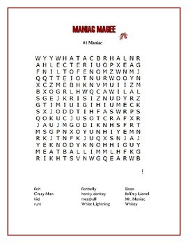 Maniac Magee: 4 Word Searches Based on the Book! | TpT