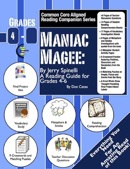 Maniac Magee:  A Common Core Aligned Reading Activity Companion For Grades 4-6