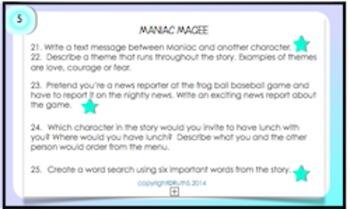 Maniac Magee Task Cards