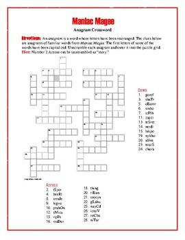 Maniac Magee: Anagram Crossword Puzzle—Unique... by Word-Wise ...