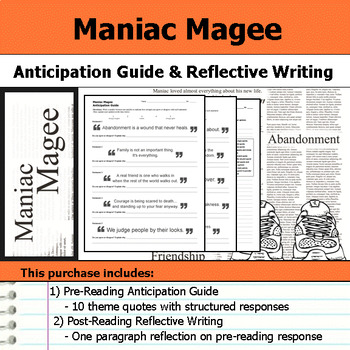 maniac magee teaching resources teachers pay teachers  maniac magee anticipation guide reflection