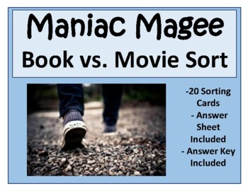 Maniac Magee Book vs. Movie Task Card Sort