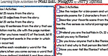 Maniac Magee By Jerry Spinelli Learning Styles Activities