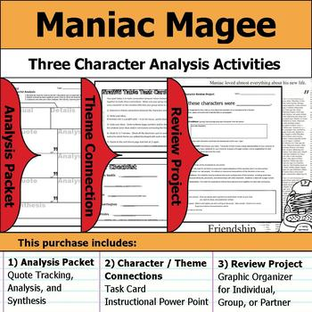 Maniac Magee - Character Analysis Packet, Theme Connections, & Project