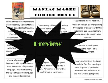 Maniac Magee Choice Board Novel Study Activities Book Project Tic Tac Toe