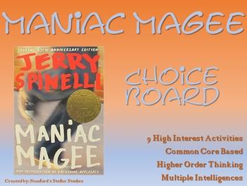 Maniac Magee Choice Board Novel Study Activities Book Proj