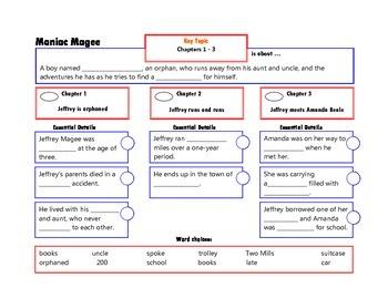 Maniac Magee Complete Novel Chapter Frames for Comprehension