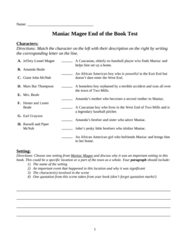 Maniac Magee Vocabulary by Ruth S. | Teachers Pay Teachers